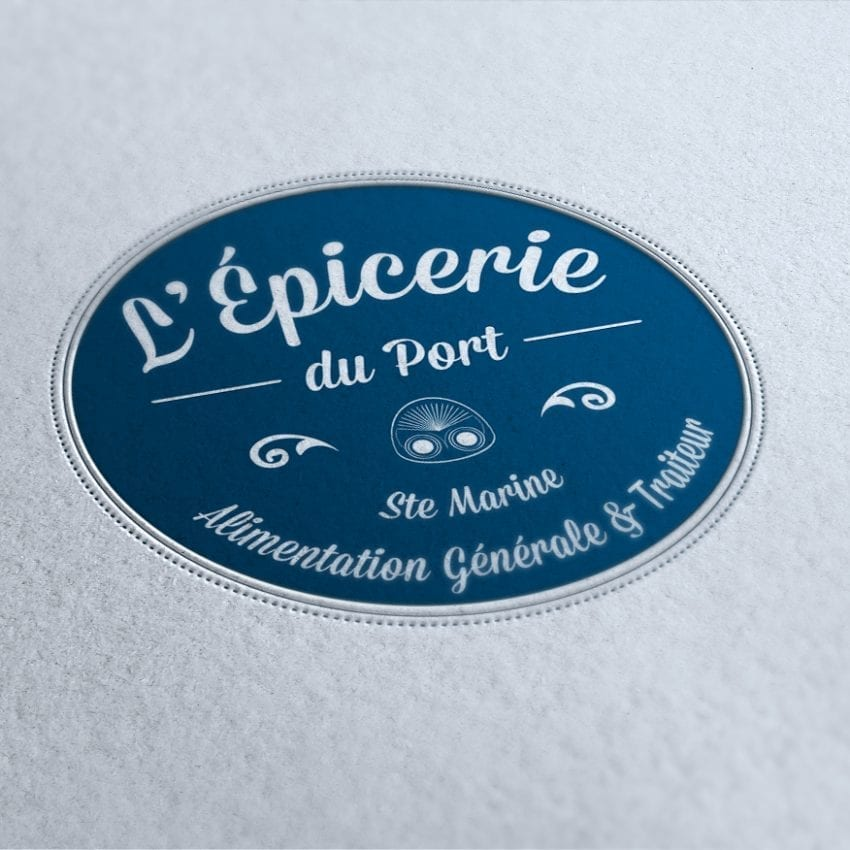 création logo et identité visuelle lancement magasin L'Epicerie du Port à Ste Marine