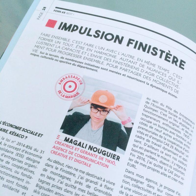 Magazine 5 ans Marque - TOUT COMMENCE EN FINISTERE - Finistere 360° -Article Magali Nouguier - Agence TIKIO Quimper - Ambassadeur